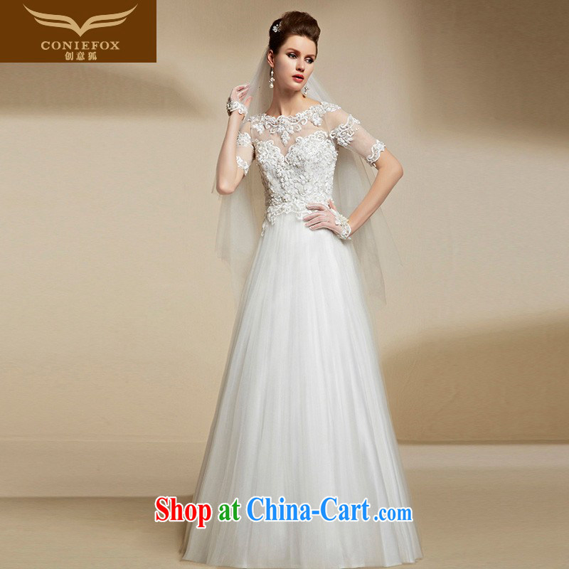 Creative Fox high-end custom white wedding dresses 2015 New Beauty long high-waist-shoulder video Thin women bridal dresses 90,202 pregnant women white tailored