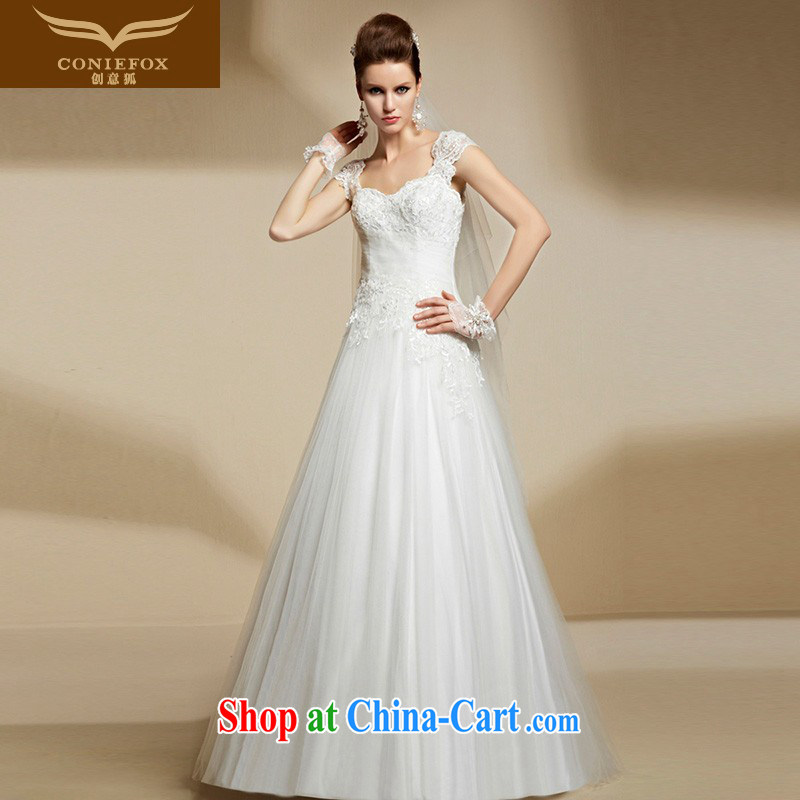Creative Fox 2015 new stylish bridal wedding dresses long Graphics thin white shoulders dress high-end custom wedding dresses 90,205 tailored