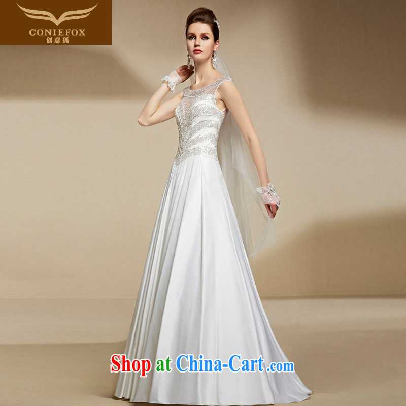 Creative Fox high-end custom white wedding dresses 2015 new cultivating high-waist graphics thin shoulders and elegant long bridal gown 90,208 tailored