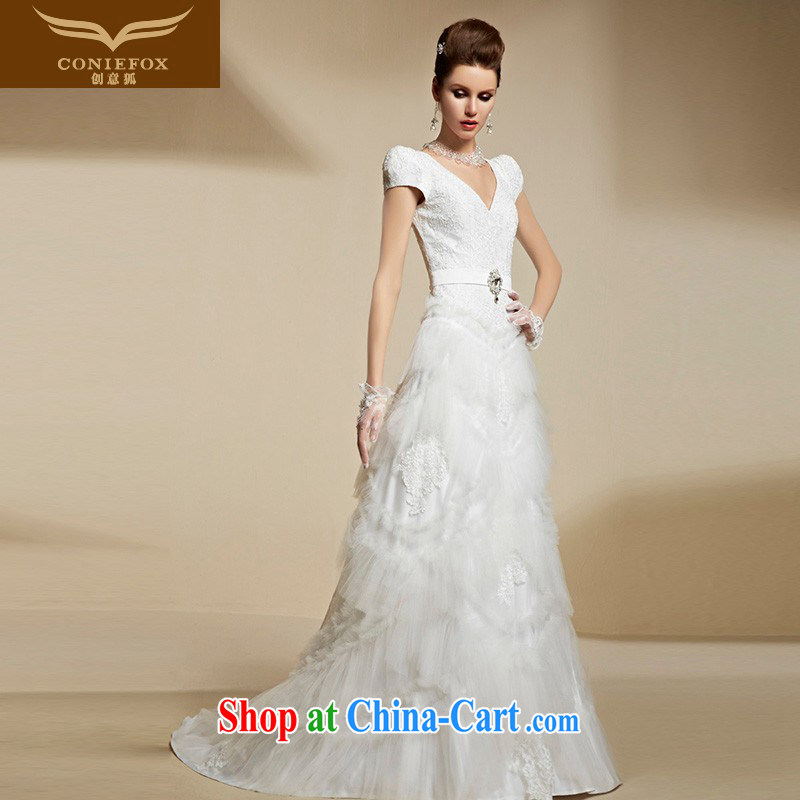 Creative Fox 2015 new high-end custom wedding dresses white wedding beauty video slim and stylish bridal wedding dresses 90,210 picture color tailored