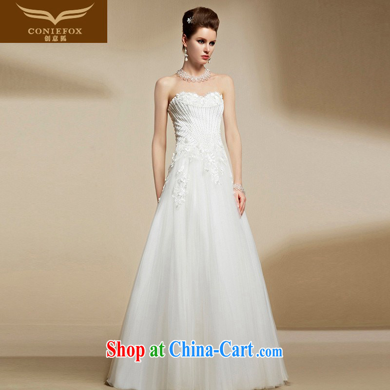 Creative Fox high-end custom wedding dresses bare chest white wedding dresses stylish and elegant long beauty bridal wedding dresses romantic wedding season 90,211 picture color tailored