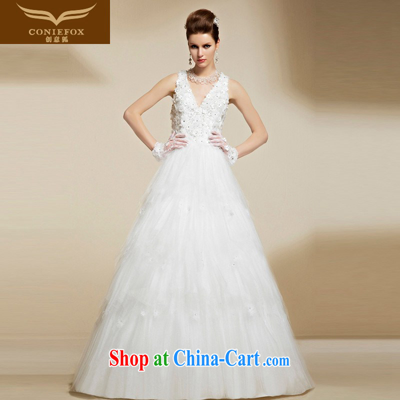 Creative Fox 2015 high-end custom white wedding dresses sexy V collar bridal wedding dress beauty graphics thin shoulders, long wedding 90,215 pictures color tailored