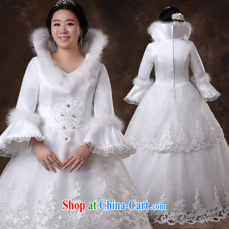 Moon 珪 guijin pregnant women high-waist, winter long-sleeved video thin XL the obese girl mm wedding white XXXL scheduled 3 days from Suzhou shipping