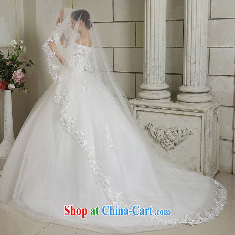 Honey, bride 2015 new luxury 3M white head yarn ultra-long bridal wedding mandatory Korean tail white, honey, bride, shopping on the Internet
