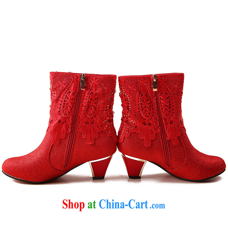 Wedding boots 2014 autumn and winter, female boots red wedding shoes high heel wedding shoes bridal shoes with thick snow boots, and boots winter boots 10 cm with 39, so Pang, shopping on the Internet