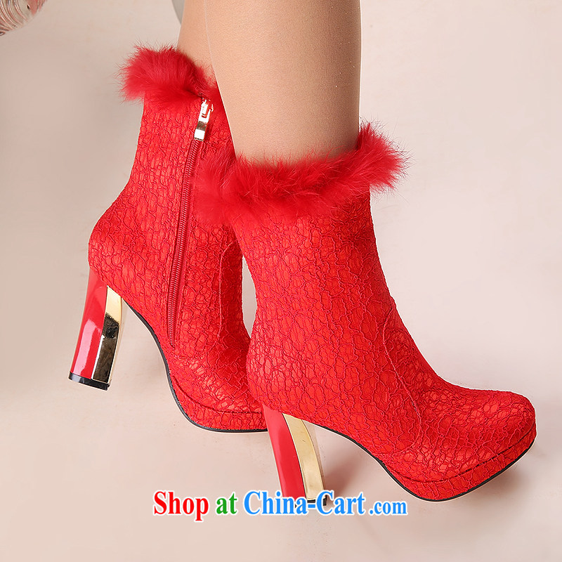 Wedding shoes women 2014 new winter wedding shoes red high heel bridal winter wedding shoes wedding shoes snow boots shoes women with 10 CM 39