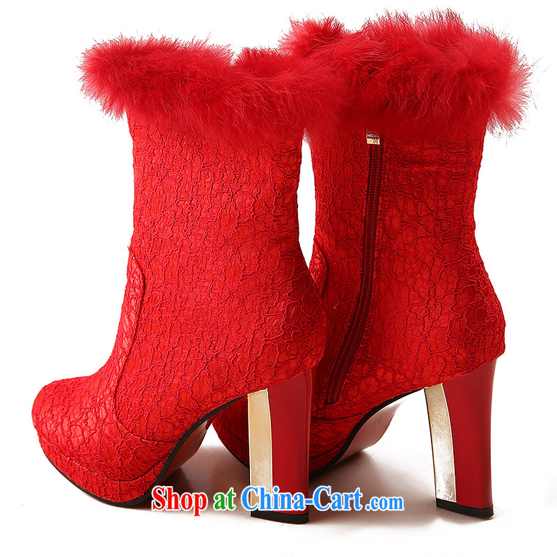 Wedding shoes women 2014 new winter wedding shoes red high heel bridal autumn and winter wedding shoes wedding shoes snow boots shoes women with 10 CM 39, love so Peng, shopping on the Internet