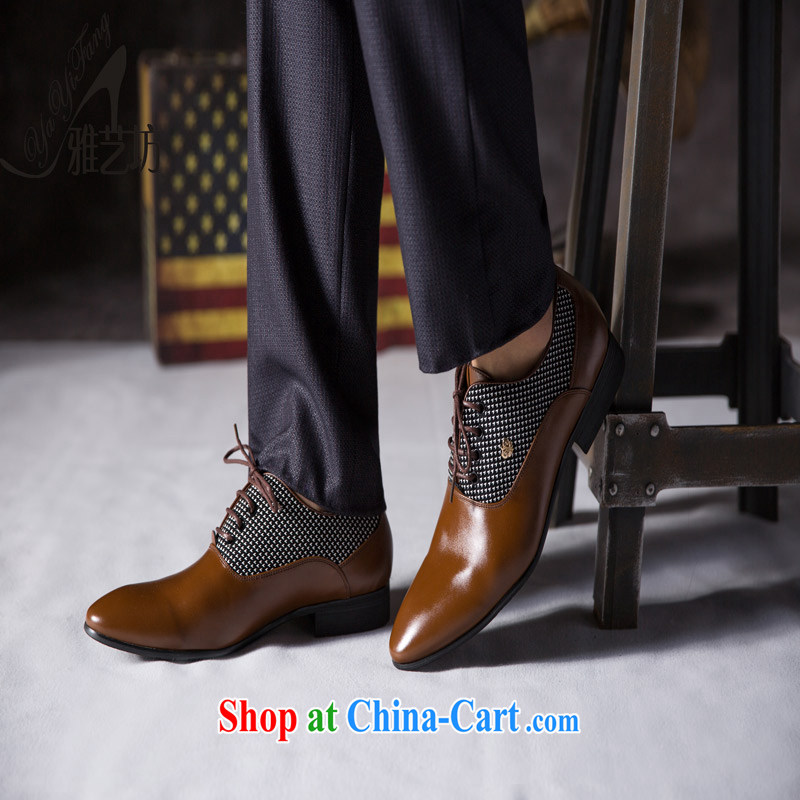 Winter men's business shoes leather strap round head is shoes and soft leather breathable British genuine shoes wedding shoes Vermillion red 44