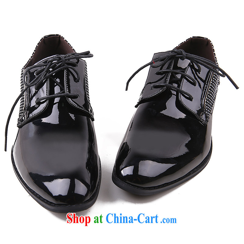 Men's leather shoes men's leather point of shoes is business shoes autumn and winter English Korean leisure shoes men's shoes black 44