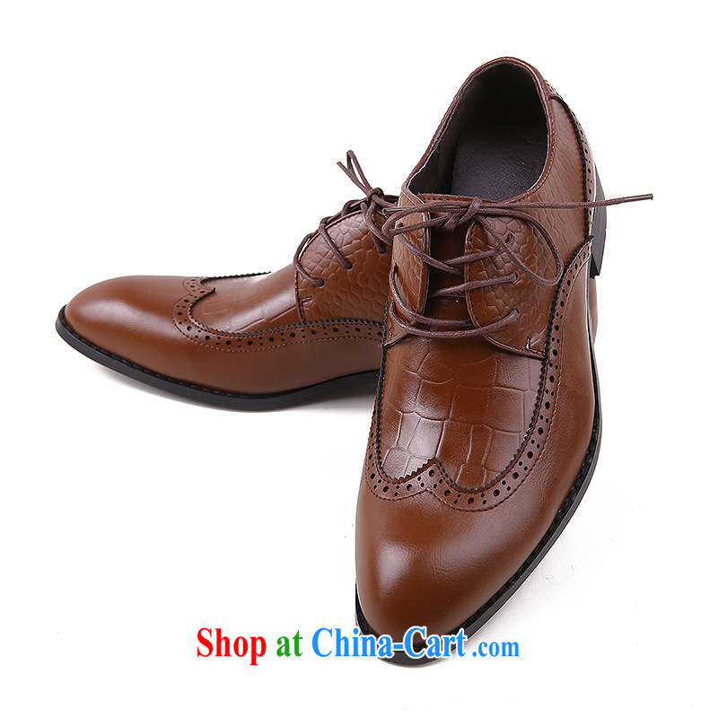Men's shoes men's leather tips, with breathable mesh single shoe is business shoes autumn and winter men's shoes men's shoes brown 44