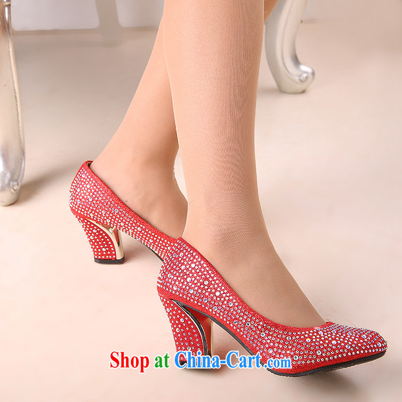 Spring and Autumn 2014, the princess wedding shoes in bold red with my store high-heel shoes cross-tied with a water-tight single female single shoes gold 6CM and 39, love so Pang, shopping on the Internet