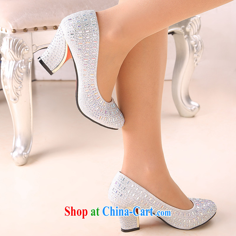 Bridal shoes gold bridal with bold and red shoes married women's shoe size, Round Head, silver 6cm with 39