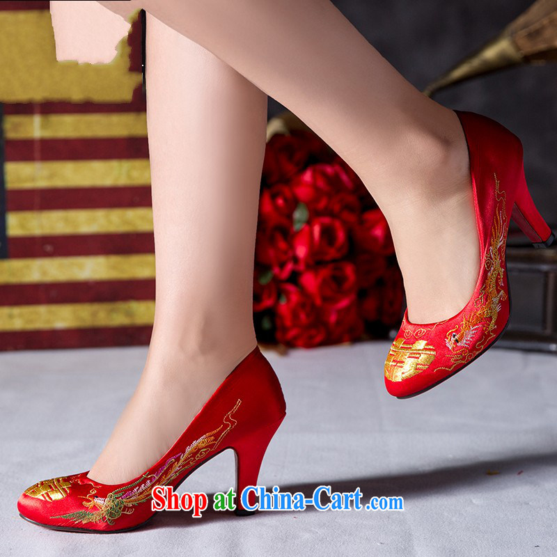 Married women shoes 2014 New red high-heel shoes bridal shoes with thick Women's shoes, shoes and Chinese wedding Red Shoes 3CM uphill with 39, so Pang, shopping on the Internet