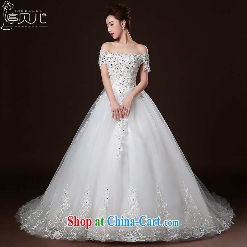 Ting Beverly wedding dresses 2015 new winter field shoulder bag shoulder long-tail wedding wiped chest-style lace bridal autumn, wood drilling wedding dress white tailored