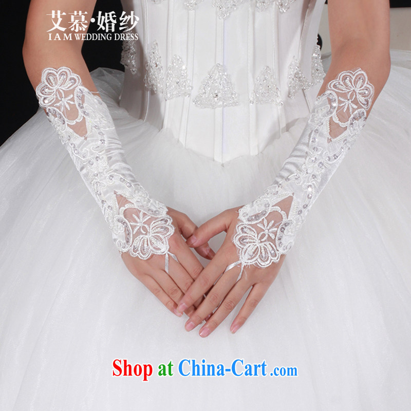 With the 2015 new bridal wedding Satin embroidery terrace to take short gloves