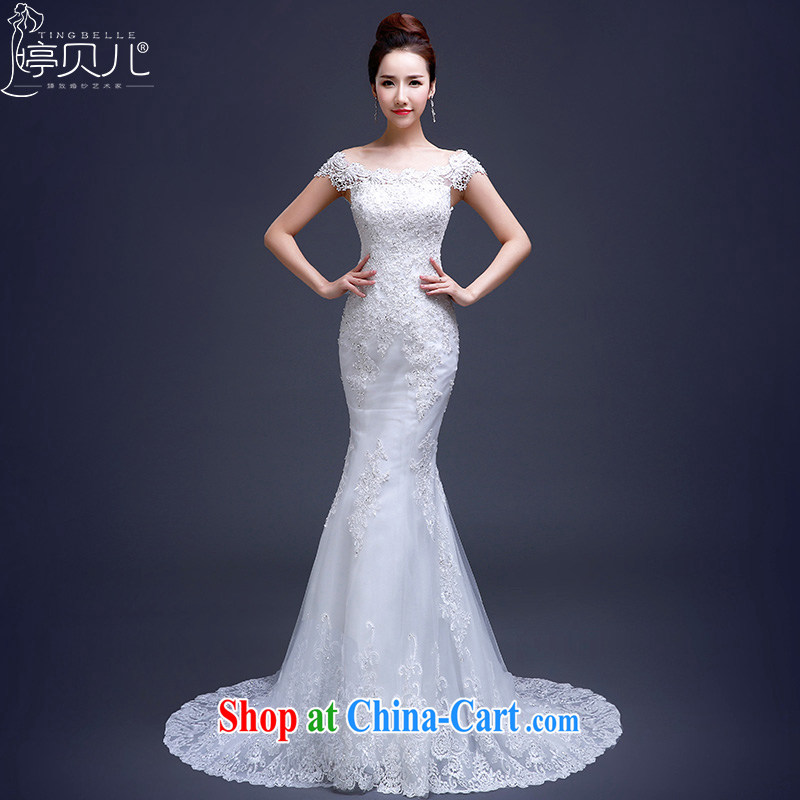 Ting Beverly wedding dresses new 2015 summer fashion a shoulder-tail crowsfoot bridal double-shoulder type Korean spring lace wedding white M