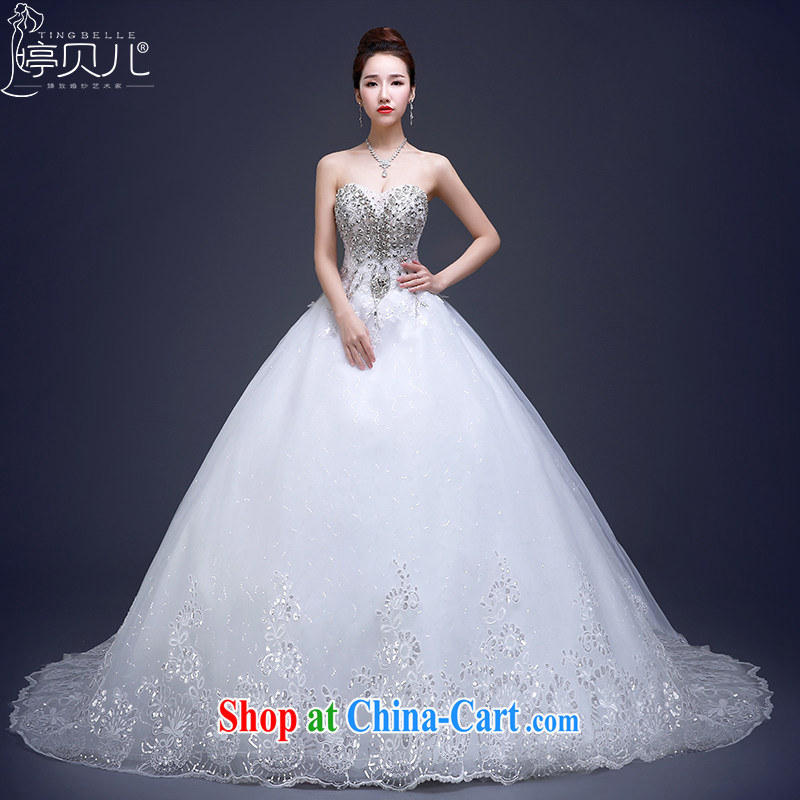 Ting Beverly wedding dresses new 2015 modern Korean long-tail bride wiped his chest water drilling larger white retro summer white tailored