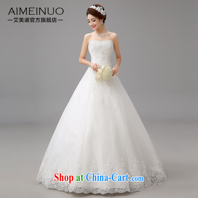The United States and the 2015 spring and summer, bridal wedding Korean version only lace flowers erase chest strap beauty graphics thin A swing with Princess yarn H - 81 white M