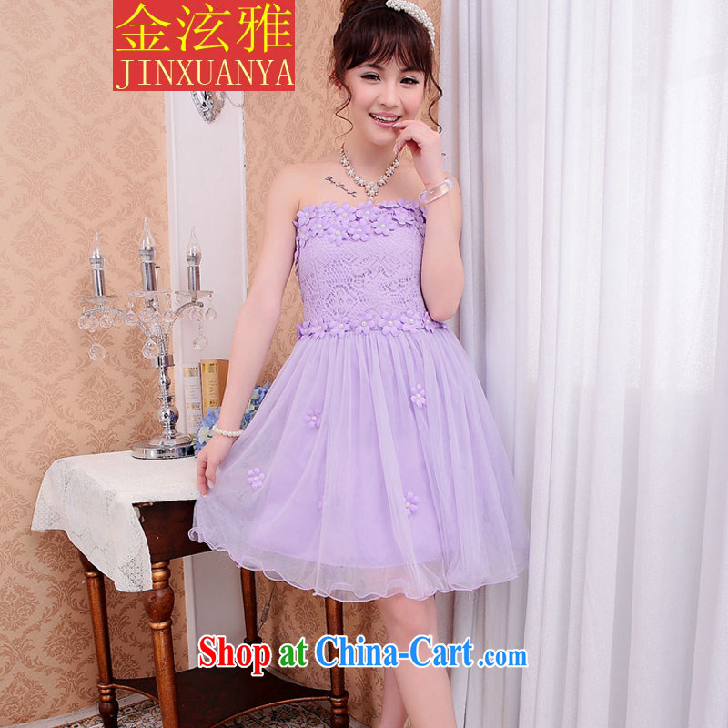 Kim Hyun-chae, spring 2015 bridesmaid dress short lace small dress sister dress bows dress light purple