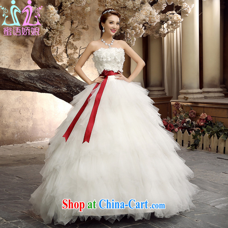 Honey, bride wedding dresses 2015 new, wipe the chest, with Princess Korean video thin wedding bridal home yarn white L