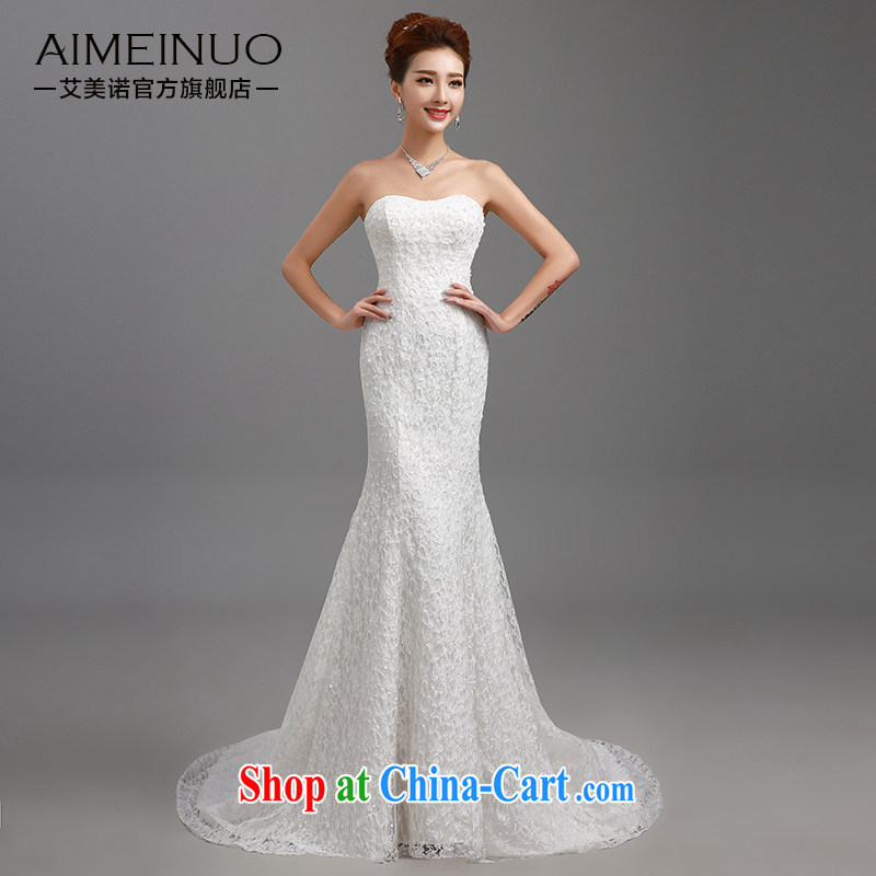 The United States, wedding dresses 2015 new wedding dresses and stylish with small tail Princess beauty graphics thin lace bare chest package and crowsfoot skirt H - 84 white XL