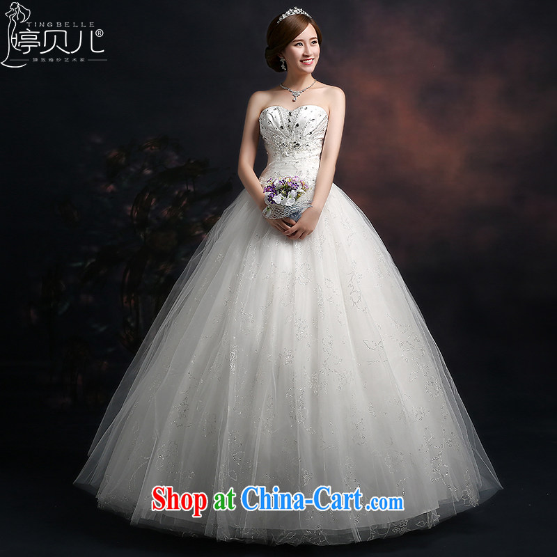 Ting Beverly wedding dresses 2015 new spring_summer bridal wedding wedding wiped his chest and tied with parquet drill larger graphics thin beauty white XXL