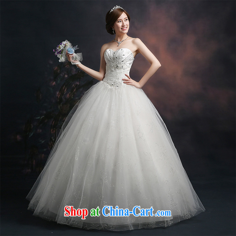 Ting Beverly wedding dresses 2015 new spring and summer marriages wedding wiped his chest and tied with parquet drill larger graphics thin beauty white XXL Ting, Beverly (tingbeier), online shopping