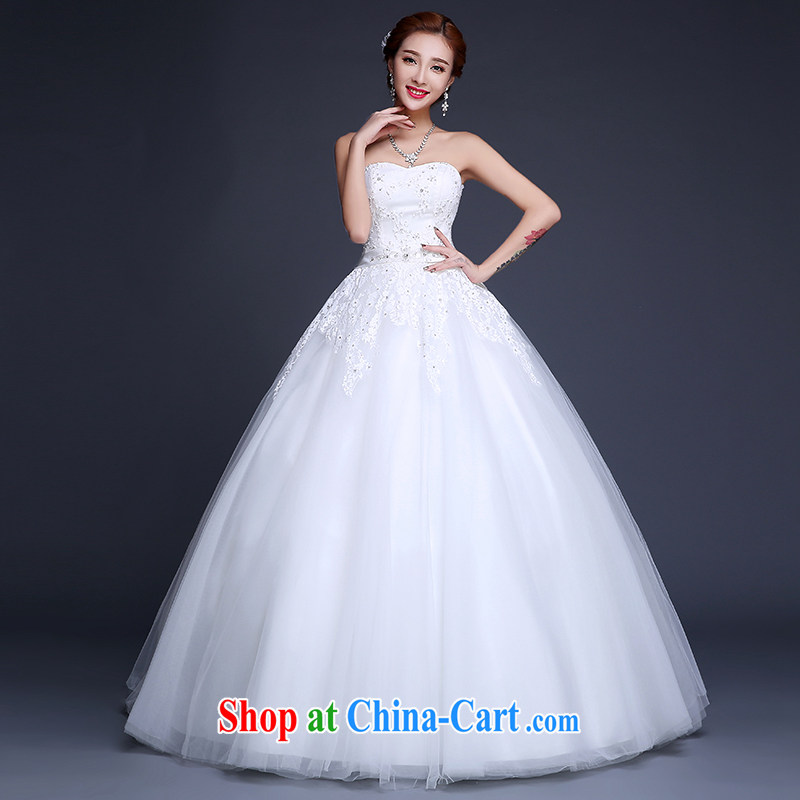 Sophie than AIDS summer 2015 new wedding dresses Korean sweet Mary Magdalene chest bridal dresses to align graphics thin lace wedding dress Korean-style strap wedding female white XXL