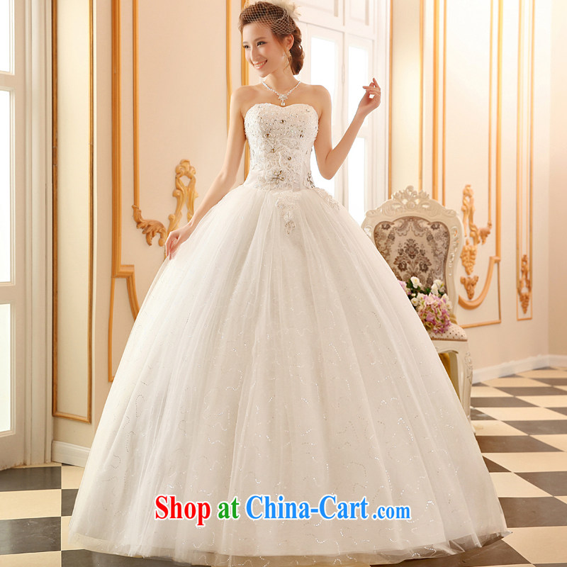 Sophie HIV than bare chest wedding dresses 2015 new summer Korean stylish wedding bridal wedding dress with A field dress shaggy dress tied with a large code wedding white XXL