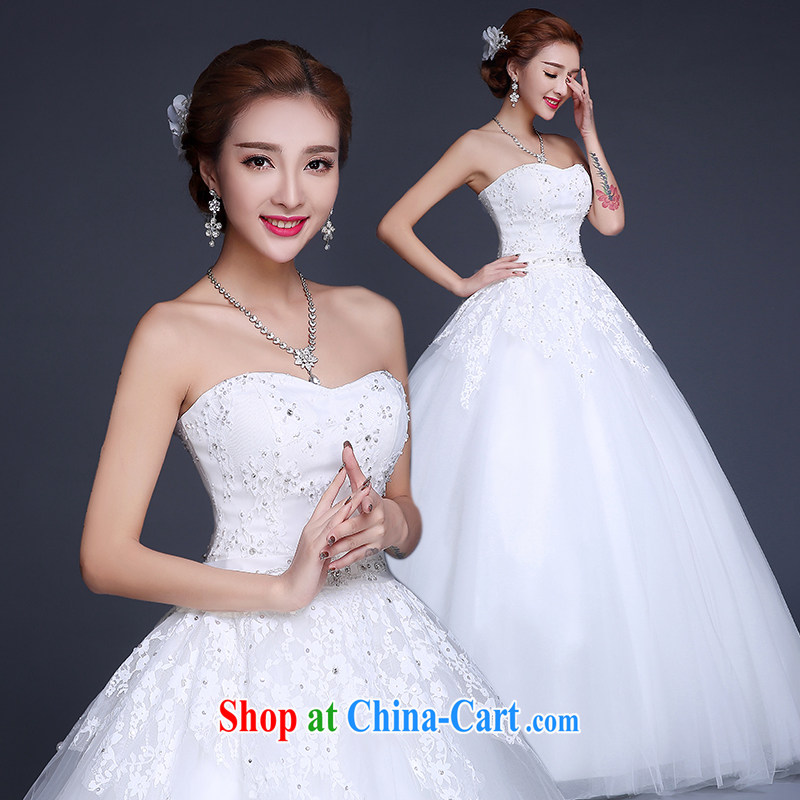 The Vanessa wedding dresses summer 2015 new Korean fashion erase chest wedding white lace wedding beauty tie wedding long with wedding summer female white XXL (high lace elegant and comfortable)
