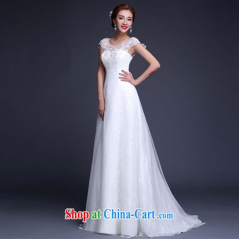 The Vanessa wedding dresses 2015 summer new marriages wedding shoulders wedding white lace crowsfoot wedding tie-up cultivation, small tail wedding female white XXL _with bare chest beauty graphics thin_
