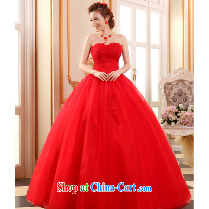The Vanessa Red wedding dresses 2015 summer Bridal Fashion erase chest wedding red lace wedding dresses long with shaggy dress beauty tie wedding female Red XXL (high lace elegant and comfortable)