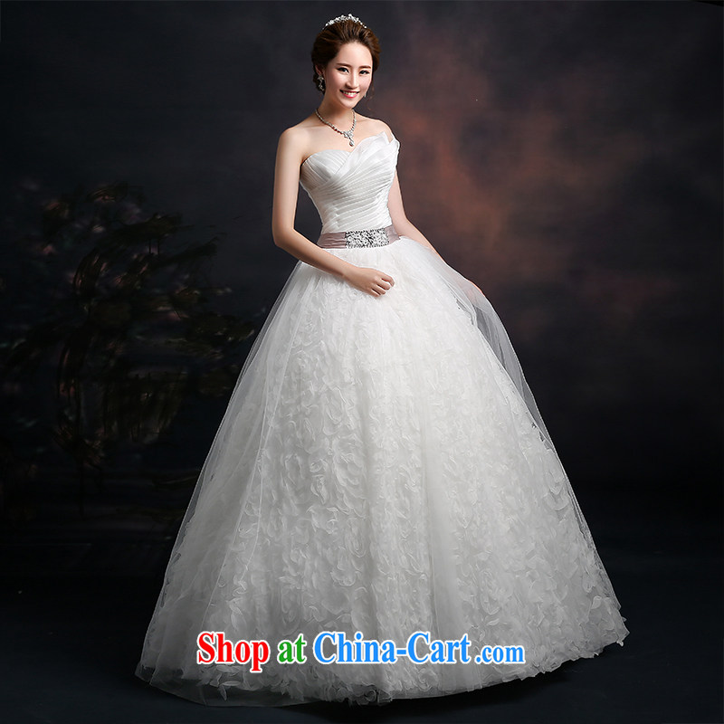 The Vanessa wedding dresses 2015 summer new marriages wedding white bare chest wedding long with shaggy dress beauty tie wedding dresses female white XXL (intimate tie-up three-dimensional lumbar)