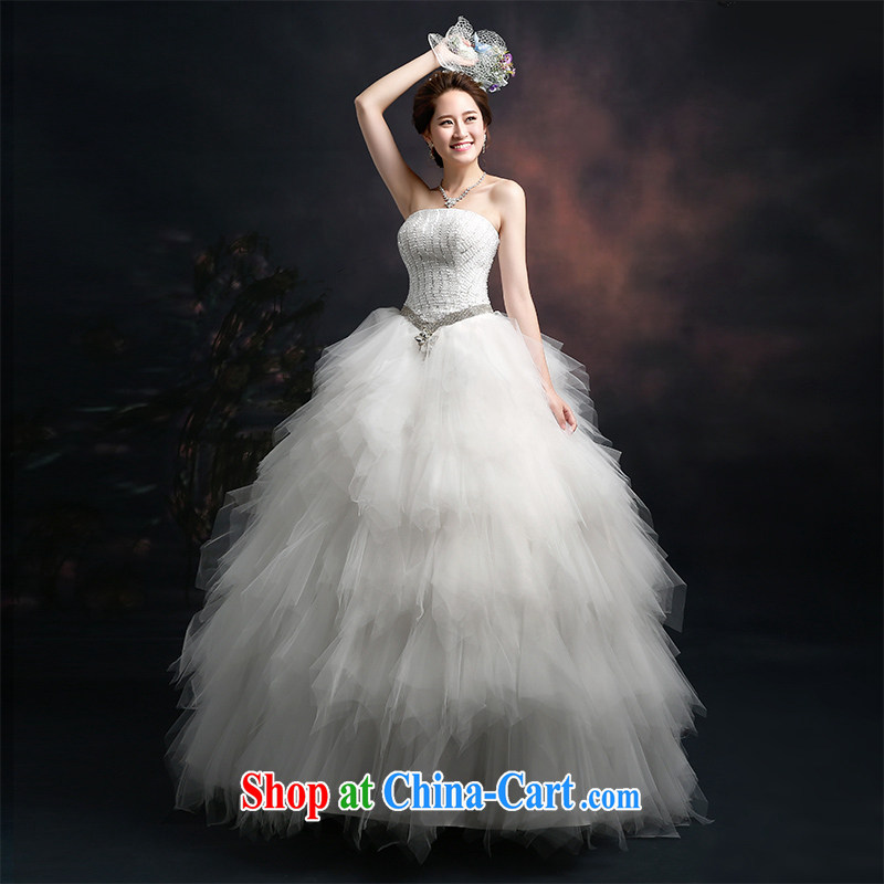 The Vanessa wedding summer 2015 new Korean marriages wedding dresses white erase chest larger wedding beauty tie wedding long with shaggy dress girls white XXL _intimate tie-up three-dimensional lumbar_