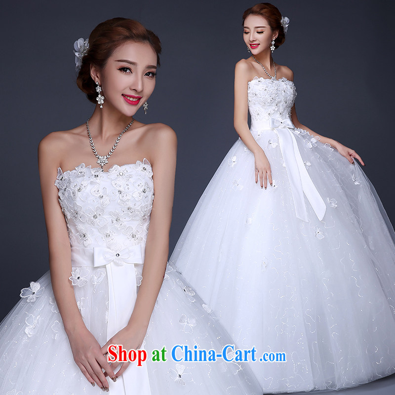 The Vanessa summer 2015 new Korean wiped his chest bridal wedding dresses skirt white with wood drill lace beauty with long, Shaggy dress girls white L