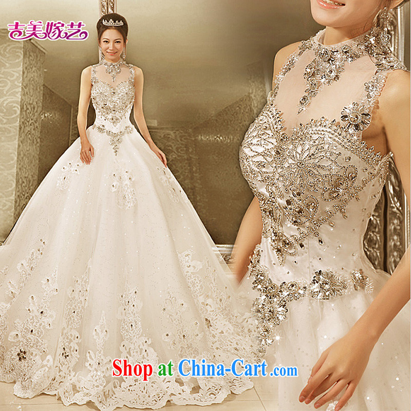 Jimmy married arts 2015 new Korean Princess skirt tail HT 7211 dress graphics thin bridal water drilling wedding lace with S