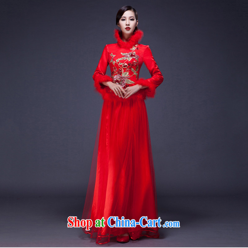 2014 long red dress improved wedding dresses, winter cotton thick bridal long-sleeved wedding dresses toast Customer to size up to do not be returned.