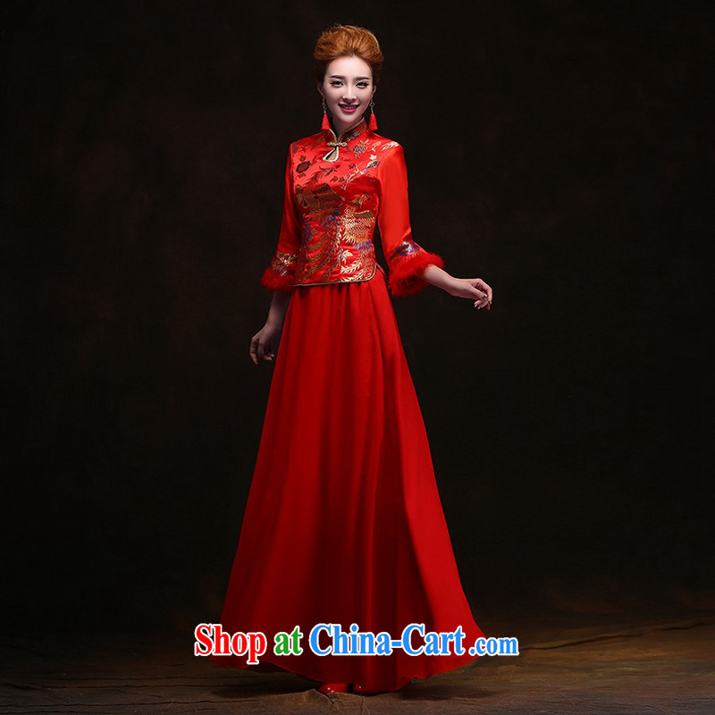 Winter dresses bows service 2014 new Bridal Fashion wedding dresses wedding red wedding long retro female clients for this size will not be returned.