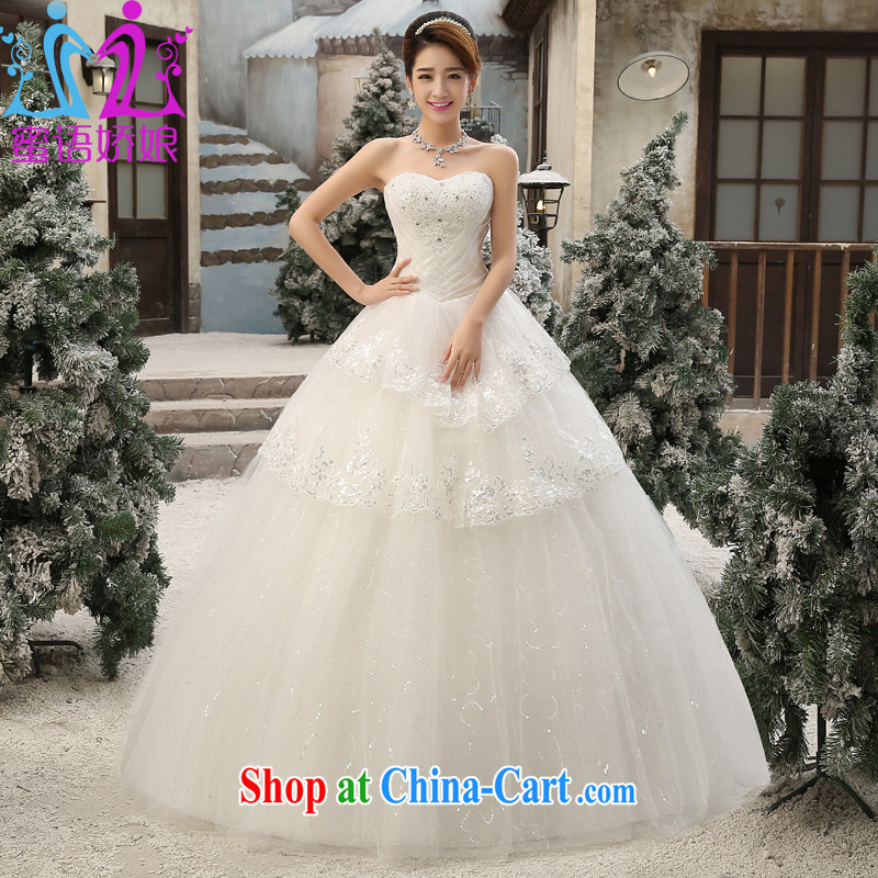 Honey, bride wedding dresses 2015 new Korean fashion wiped his chest in the Code graphics thin strap inserts drill bridal wedding dress custom thick mm wedding white L