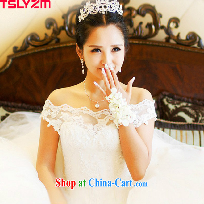 Tslyzm wedding dresses spring and summer 2015 new, the clean and elegant, the Field shoulder bridal wedding dresses Home welcome yarn fine lace beauty graphics thin white XXL
