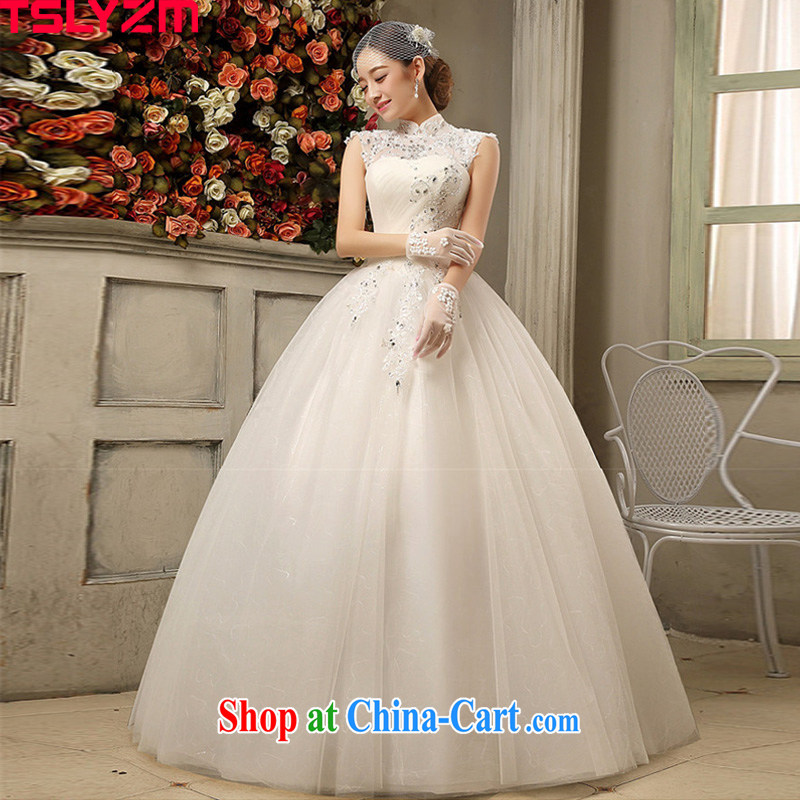 Tslyzm bridal, for wedding dresses new 2015 spring and summer light drill fashion, the wind antique lace back exposed with shaggy dress white XXL