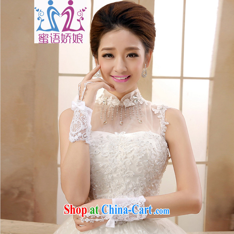 Honey, bride marriages white gloves short lace exposed the US bridal jewelry jewelry wedding dresses with white