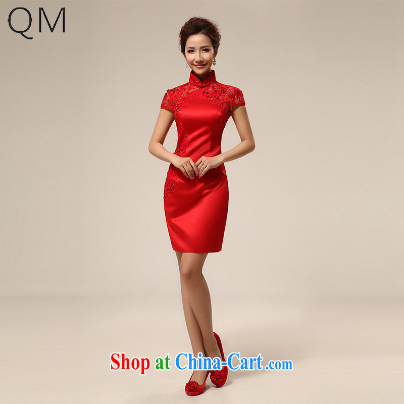 light the red dresses wedding dresses bride dresses short bows stage dress CTX QP 62 red XXL