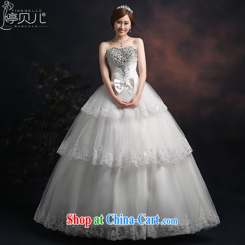 Ting Beverly wedding dresses 2015 new stylish bridal autumn and winter, with bare chest with drill white beauty graphics thin shaggy dress girls white XXL