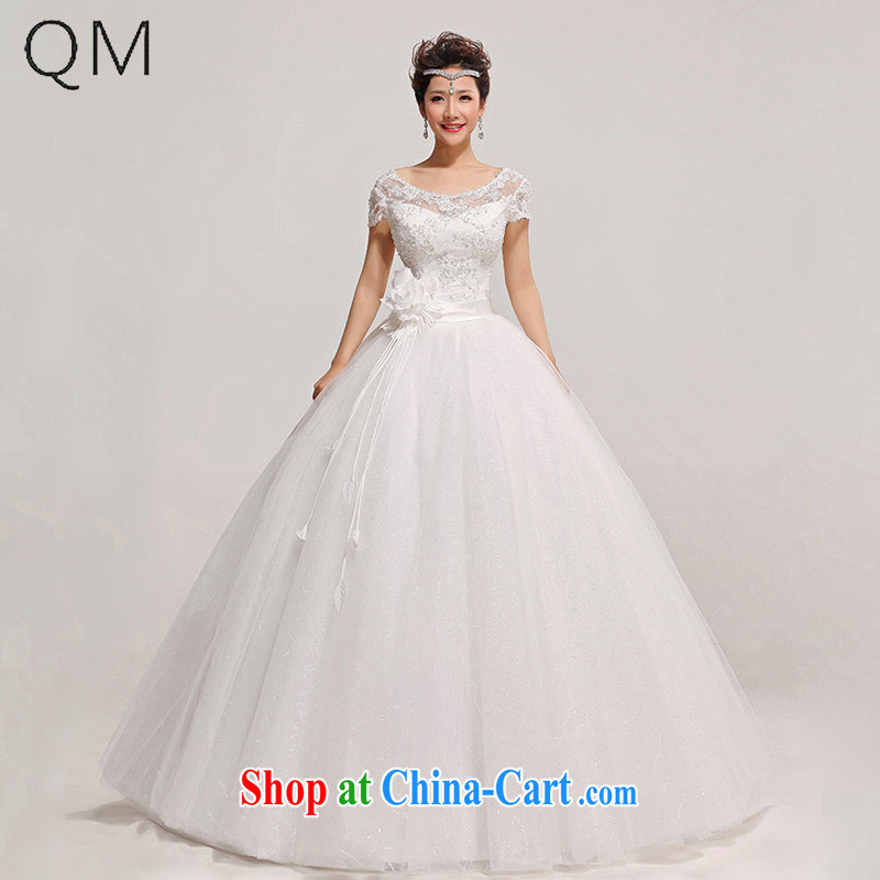 Shallow end lace field shoulder skirts floral decorations wedding dresses CTX HS 315 white XXL