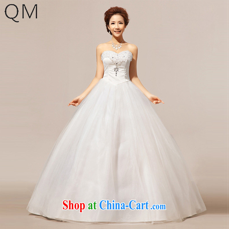 Light the bride wedding wiped his chest crystal Korean wedding dresses CTX HS 238m White XXL