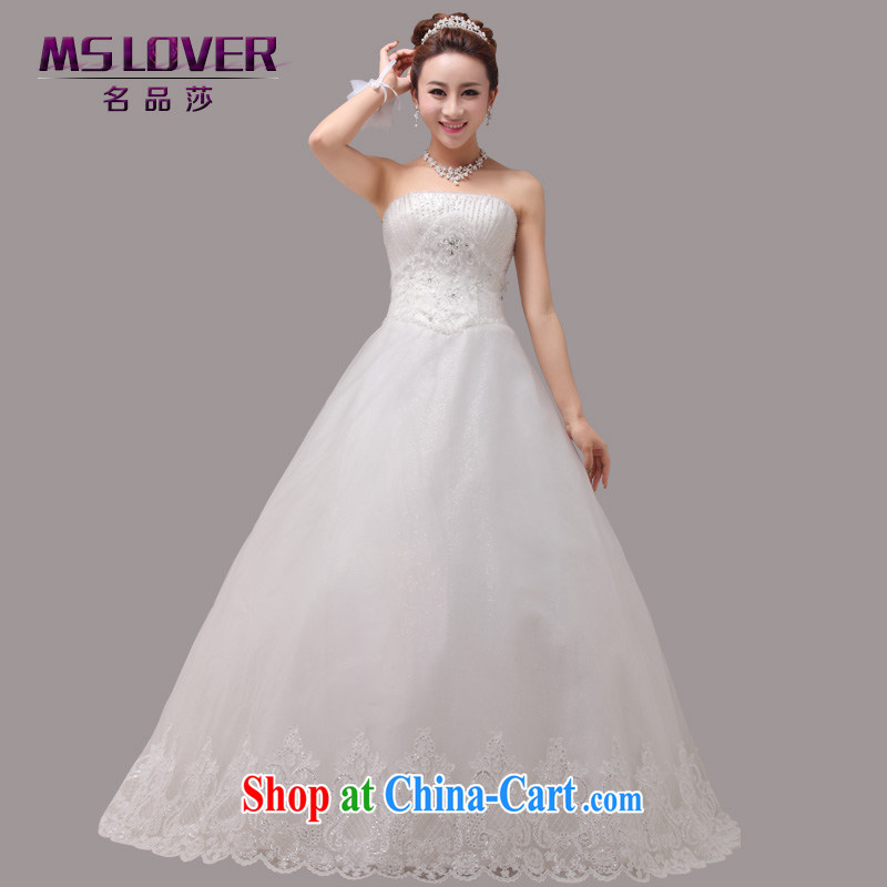 MSLover aura crystal Princess bridal beauty graphics thin wiped his chest to tie bridal wedding dresses Home 0011 white tailored