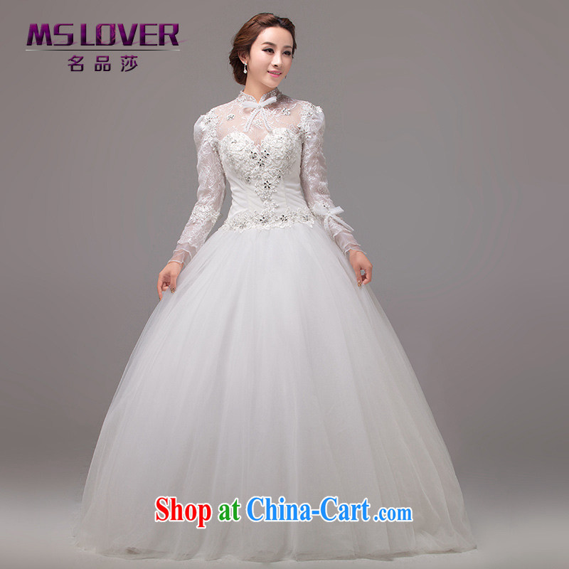 MSLover Royal Princess aura beauty wedding with long-sleeved wedding custom wedding 0026 m White tailored
