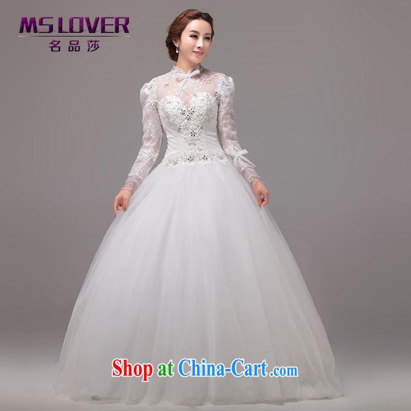 MSLover Royal Princess aura beauty wedding with long-sleeved wedding custom wedding 0026 m White tailored