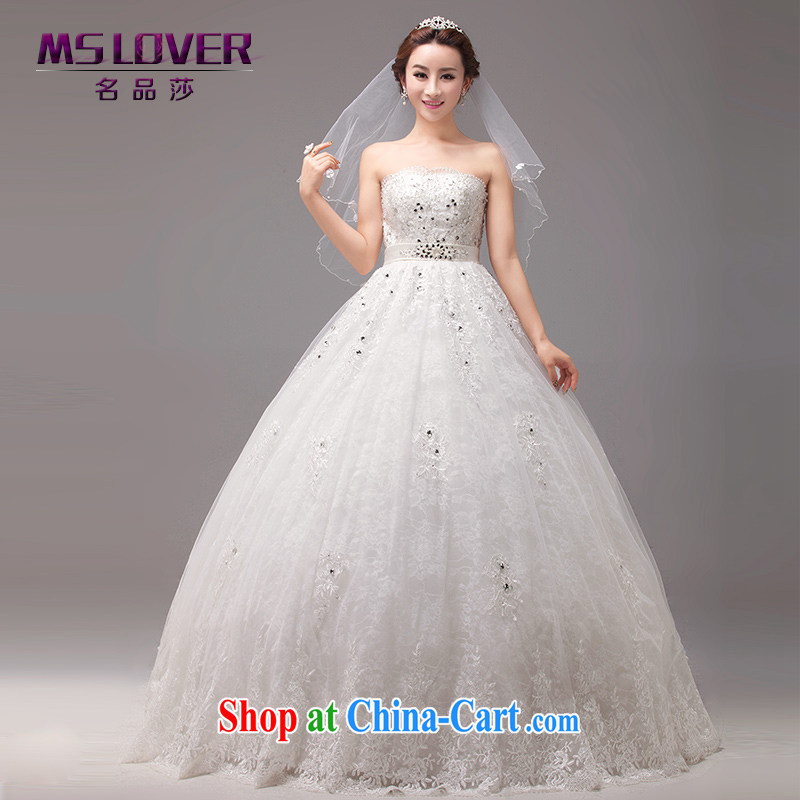 MSLover Korean-style wedding bridal wiped his chest manually staple Pearl strap with wedding high-waist pregnant wedding custom wedding 0033 m White tailored